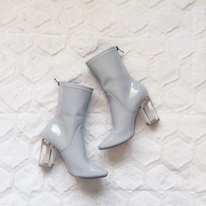 Pale blue-grey clear heeled boots